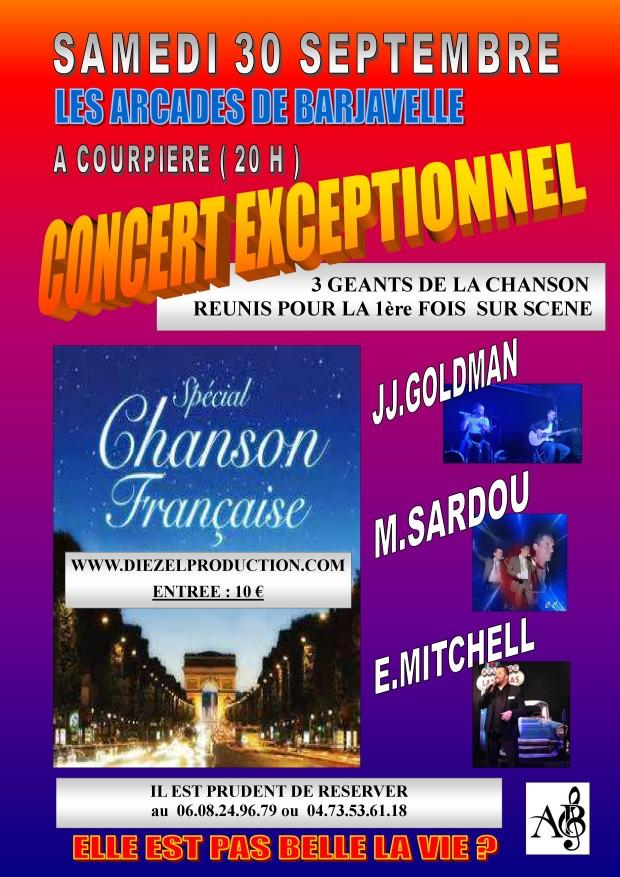 Concert spécial chanson française : M.Sardou, J.J Goldman, E. Mitchell